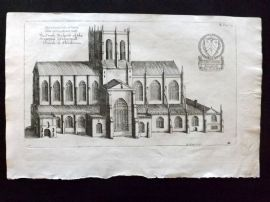 Dugdale & King 1718 Antique Print. South Prospect of the Church of Shireburne